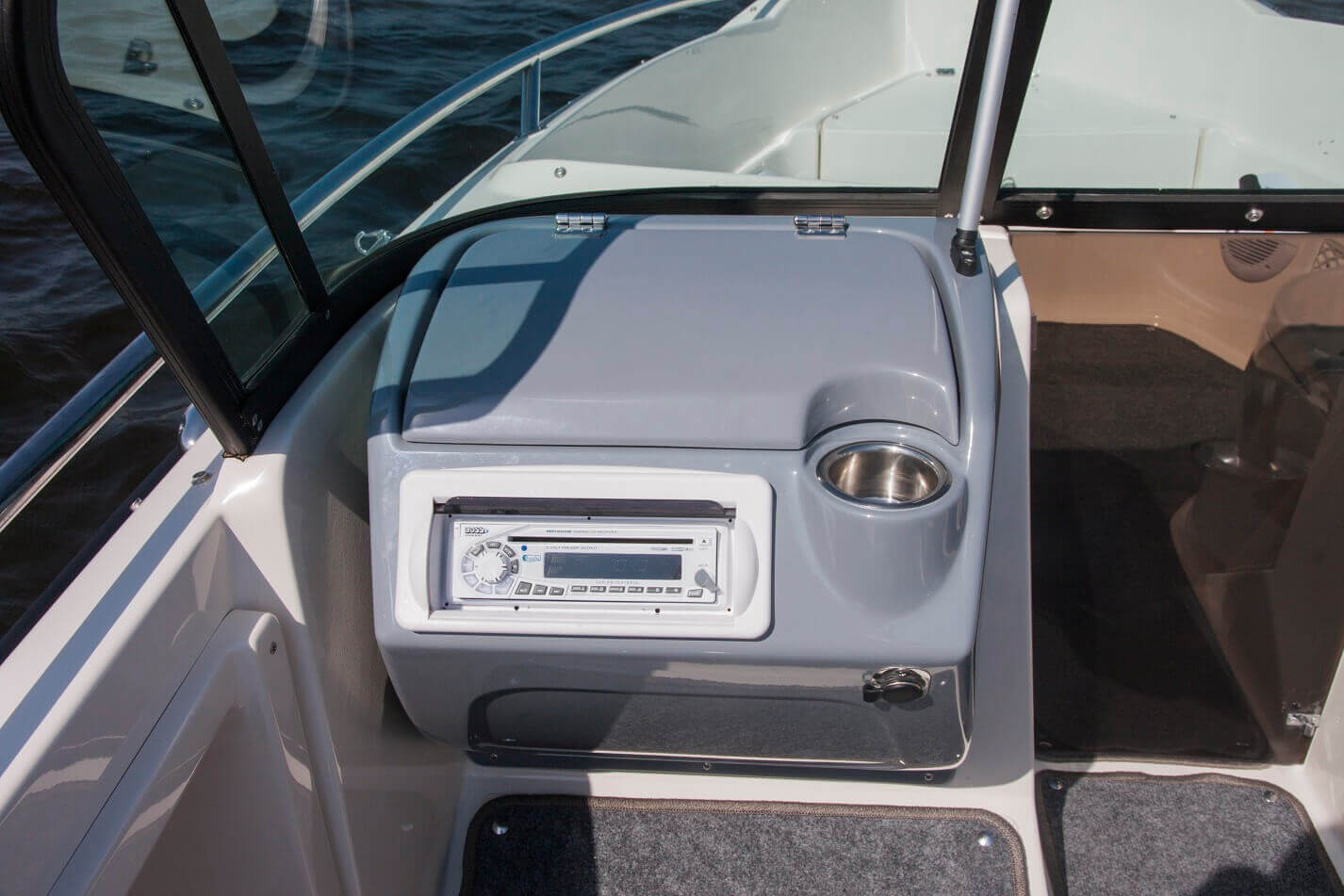 Front passenger console with cup holder